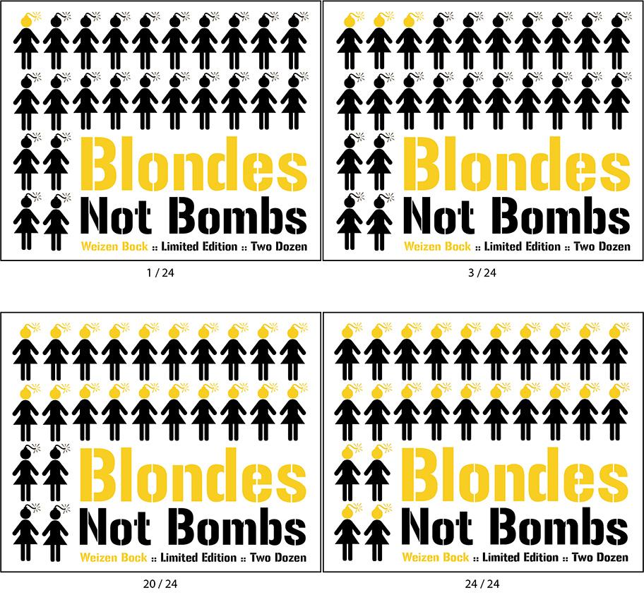 Blondes Not Bombs Beer Label Design
