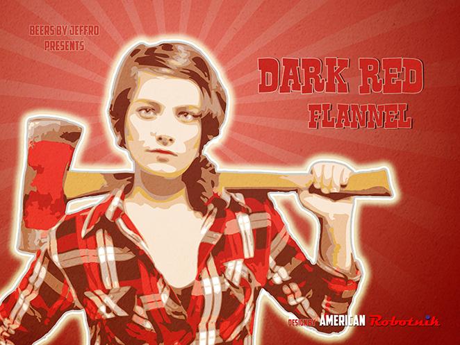 Dark Red Flannel Beer Label Design