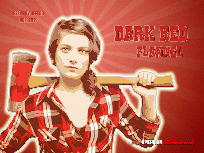 Dark Red Flannel Beer Label Design